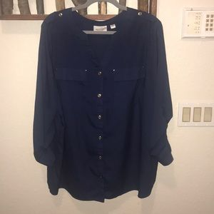 Blue military style shirt